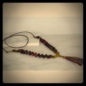 Multicolored Jade Tassel Necklace